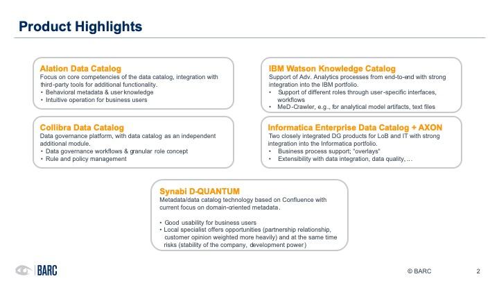 BARC data cataloging webinar - products