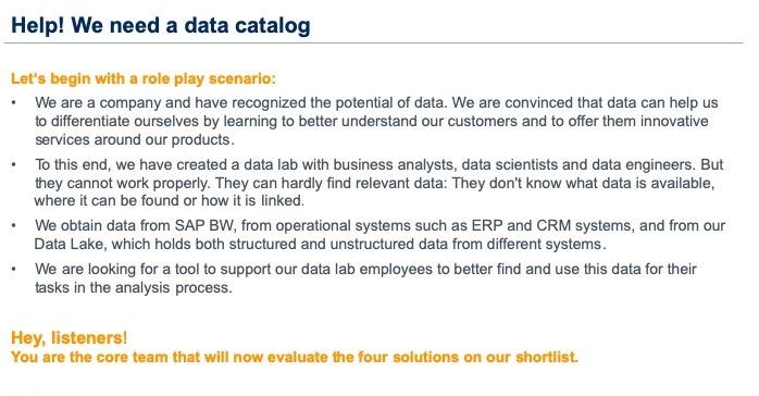 BARC data cataloging webinar - scenario