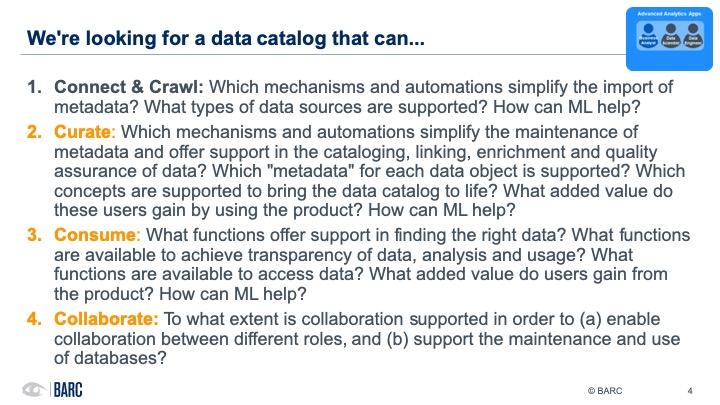 BARC data cataloging webinar - criteria
